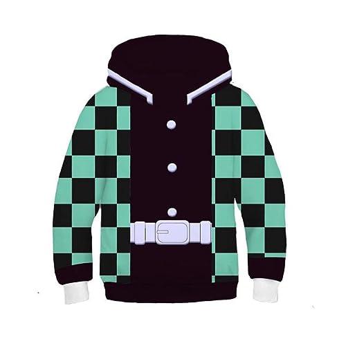 DENCTORAM Kamado Tanjiro Hoodies for Kids Anime Kamado Nezuko Cosplay Costume Jacket Sweatshirt Pullover boys
