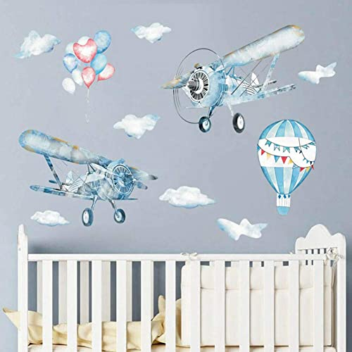 Buy Watercolor Airplane Wall Decals Hot Air Balloon Wall Sticker For Kids Rooms Boys Bedroom Nursery Playroom Toy Story Classroom Decorationwatercolor Online In Kenya B085stqyh8