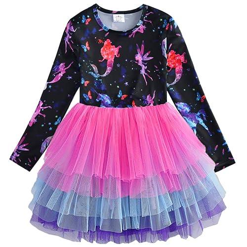 VIKITA Toddler Flower Girl Dress Winter Long Sleeve Tutu Party Dresses for Girls 3-7 Years Knee-Length