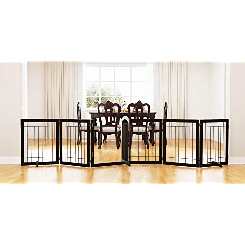 Buy Pawland 144 Inch Extra Wide 30 Inches Tall Dog Gate With Door Walk Through Freestanding Wire Pet Gate For The House Doorway Stairs Pet Puppy Safety Fence Support Feet Included Espresso 6 Panels Online