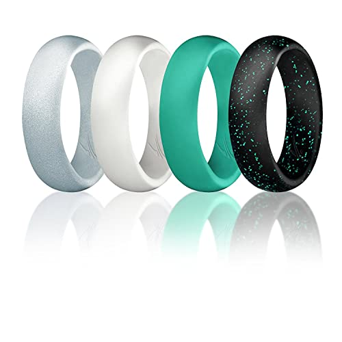 Engraved Middle Line Style 4 Pack Mens Silicone Rings for Work//Sport//Hiking Tungsten Carbide Band for Special Events ROQ 3 Silicone /& 1 Tungsten Carbide Wedding Rings for Men