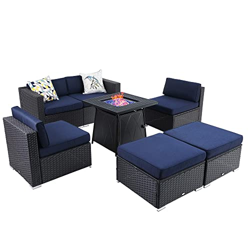Phi Villa 7 Piece Patio Furniture, Dineli Patio Furniture Sectional Sofa With Gas Fire Pit Table Outdoor