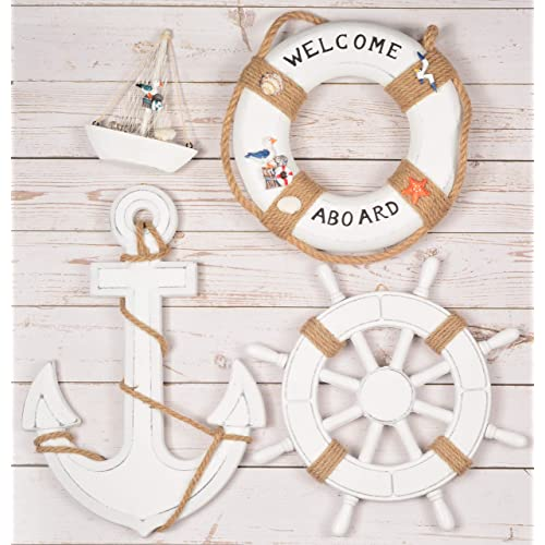 Buy Wooden Nautical Lighthouse Anchor Wall Hanging Ornament Beach Wooden Boat Ship Steering Wheel Wall Decor Nautical Sailing Ship Table Display Decor Nautical Life Ring Wall White Online In Kenya B07w4gdyrc
