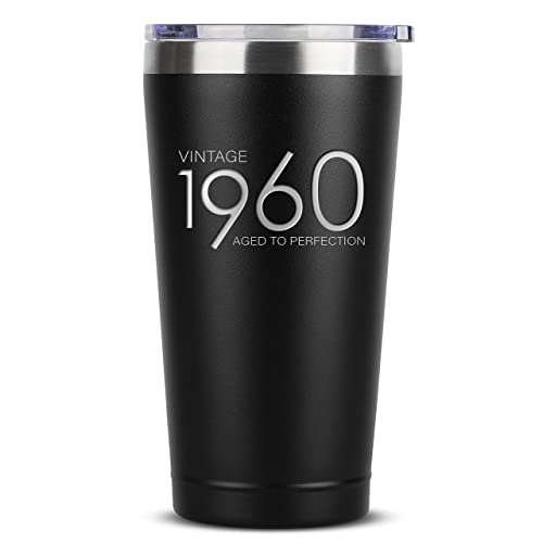 1960 60th Birthday Gifts For Women Men 16 Oz Black Insulated Stainless Steel Tumbler Wlid Vintage