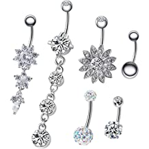 NASAMA 5Pcs 14G Stainless Steel Dangle Belly Button Rings CZ Navel Curved Barbell Studs Body Piercing